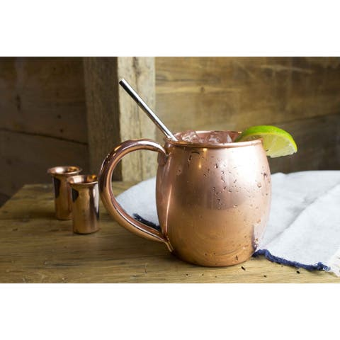 Sinkology Moscow Mule Pure Copper 22-ounce Extra Thick Unlined Uncoated Mug (Set of 2)