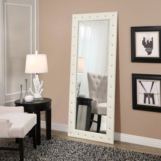Abbyson Kenzie White Leather Floor Mirror