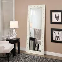 Abbyson Kenzie White Leather Floor Mirror