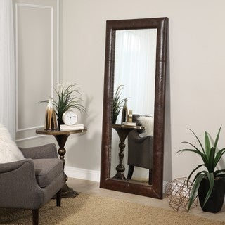 Abbyson Montclair Brown Leather Floor Mirror