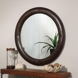 Abbyson Madden Brown Leather Round Wall Mirror