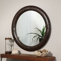 Abbyson Madden Brown Leather Round Wall Mirror