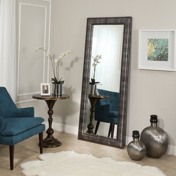 Abbyson Clayton Silver Leather Floor Mirror - Free Shipping Today ...