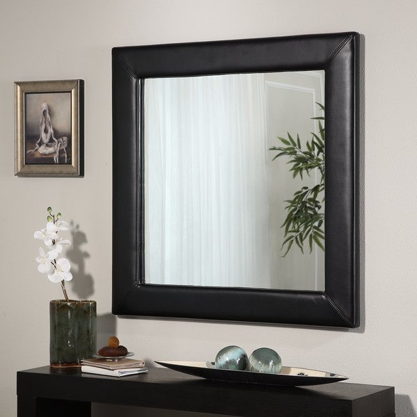 Abbyson Marlowe Leather Square Wall Mirror