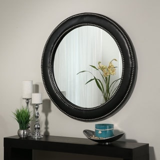 Abbyson Celine Black Leather Wall Mirror