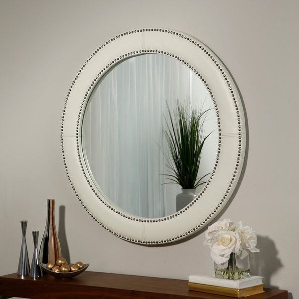 Overstock Mirrors: Shop Abbyson White Leather Wall Mirror