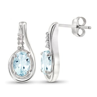 Jewelonfire Sterling Silver 1 1/5ct TW Sky Blue Topaz and White Diamond Accent Earrings