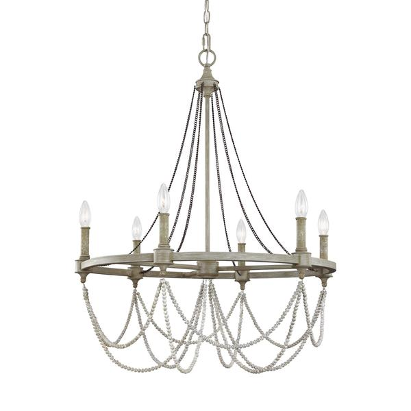 Feiss Beverly 6 Light French Washed Oak Distressed White Wood Chandelier