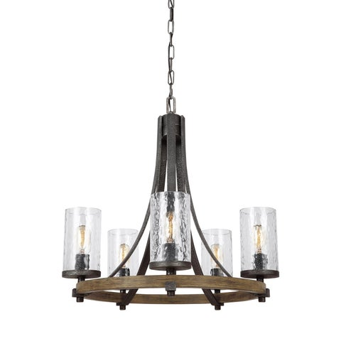 Feiss Angelo 5 Light Distressed Weathered Oak / Slated Grey Metal Chandelier