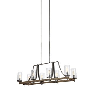 Feiss Angelo 8 Light Distressed Weathered Oak / Slated Grey Metal Chandelier