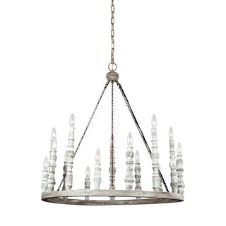 Feiss Norridge 15 Light Distressed Fence Board / Distressed White Chandelier