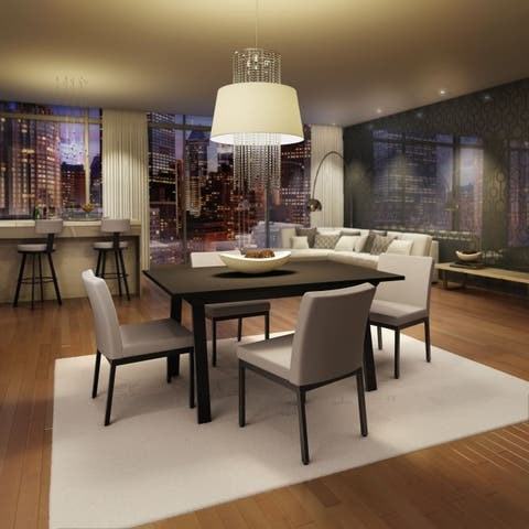 Amisco Perry Metal Chairs and Drift Extendable Table, Dining Set in Brown Metal and Grey Polyurethane