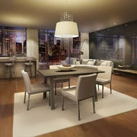 Amisco Perry Metal Chairs and Drift Extendable Table, Dining Set in  Grey Metal and Beige Polyurethane
