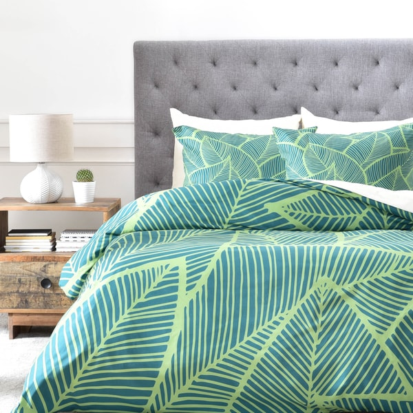 Arcturus Lime Green Leaves 1 Piece Duvet Cover