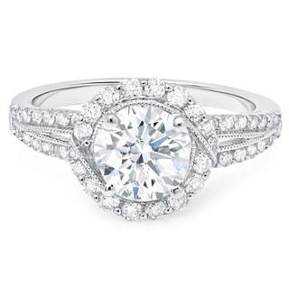 LeZari & Co. 18K White Gold 1.75ct TDW Diamond Split Shank Halo Engagement Ring (I-J, SI1)