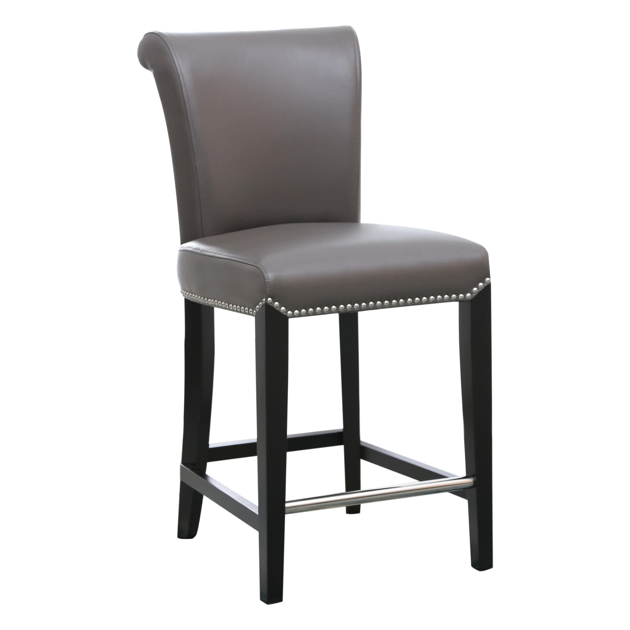 Strange Abbyson Century 25 Inch Grey Leather Counter Stool Ibusinesslaw Wood Chair Design Ideas Ibusinesslaworg