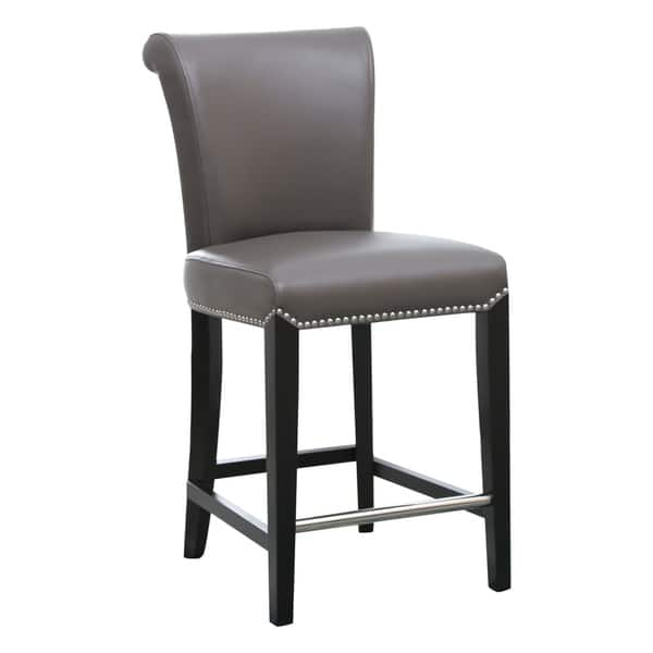 Surprising Shop Abbyson Century 25 Inch Grey Leather Counter Stool Machost Co Dining Chair Design Ideas Machostcouk