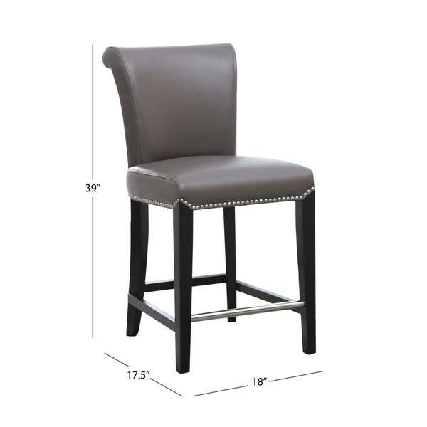Tremendous Shop Abbyson Century 25 Inch Grey Leather Counter Stool Gmtry Best Dining Table And Chair Ideas Images Gmtryco