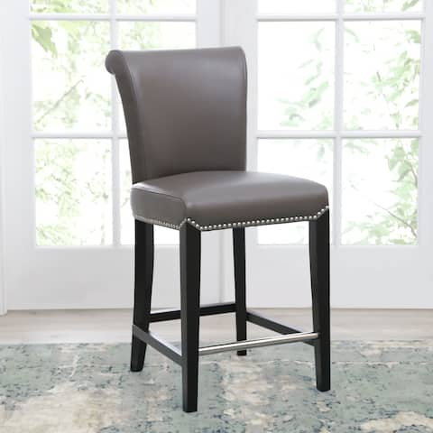 Abbyson Century 39 Inch Grey Leather Counter Stool