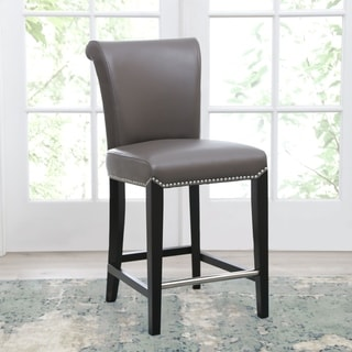 Link to Abbyson Century 25-inch Grey Leather Counter Stool Similar Items in Dining Room & Bar Furniture