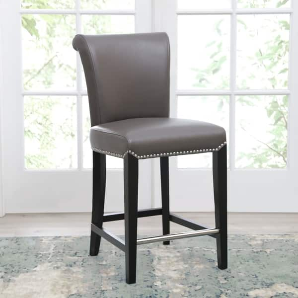 Fine Shop Abbyson Century 25 Inch Grey Leather Counter Stool Machost Co Dining Chair Design Ideas Machostcouk
