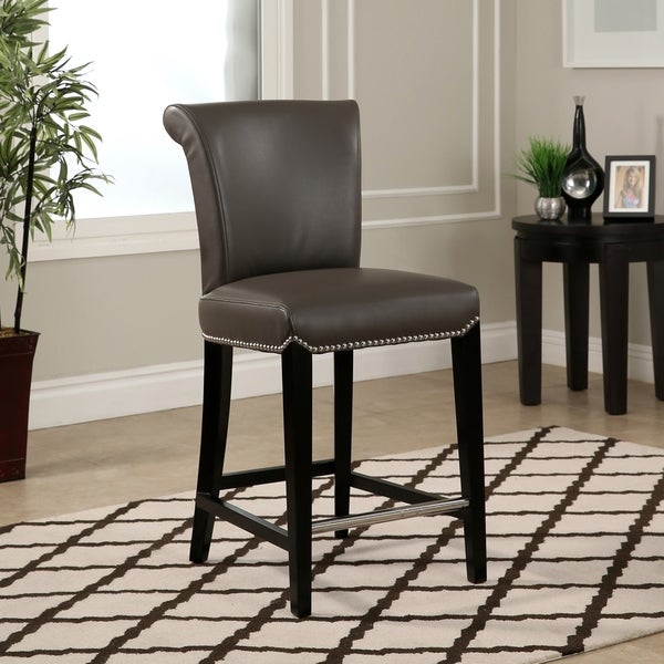 Shop Abbyson Century 25 Inch Grey Leather Counter Stool On Sale