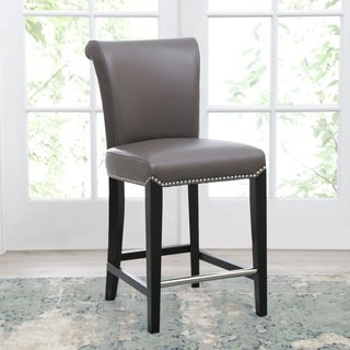 Abbyson Century 25-inch Grey Leather Counter Stool