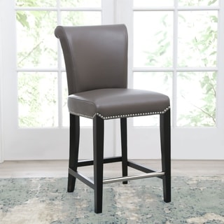abbyson century 25inch grey leather counter stool