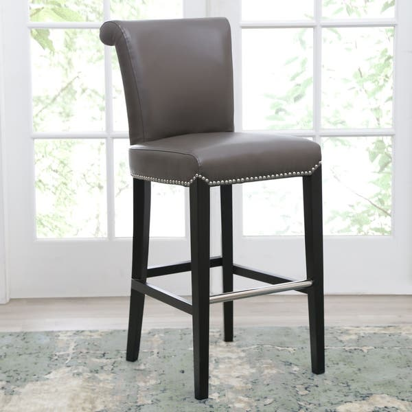 Incredible Shop Abbyson Century 30 Inch Grey Leather Bar Stool Free Andrewgaddart Wooden Chair Designs For Living Room Andrewgaddartcom
