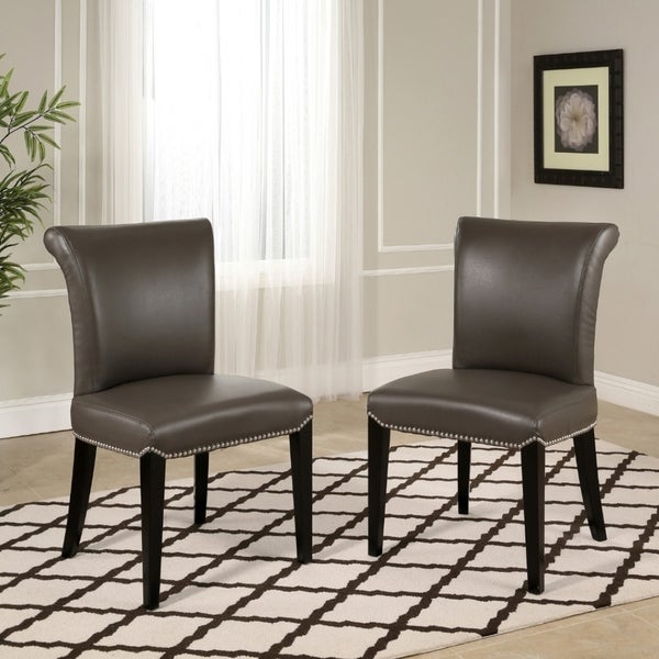 Leather Dining Set: Shop Abbyson Century Grey Leather Dining Chair (Set Of 2