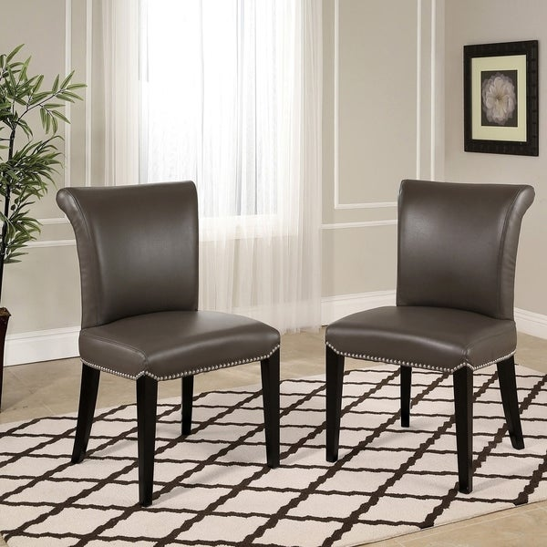 Abbyson Century Grey Leather Dining Chair Set Of 2