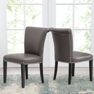 Link to Abbyson Century Grey Leather Dining Chair (Set of 2) Similar Items in Dining Room & Bar Furniture