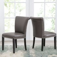 Abbyson Century Grey Leather Dining Chair (Set of 2)