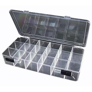 "JSP®STORAGE BOX CRYSTAL CLEAR 18 COMPARTMENTS 11""X7.3""X1.6""(bx87)"