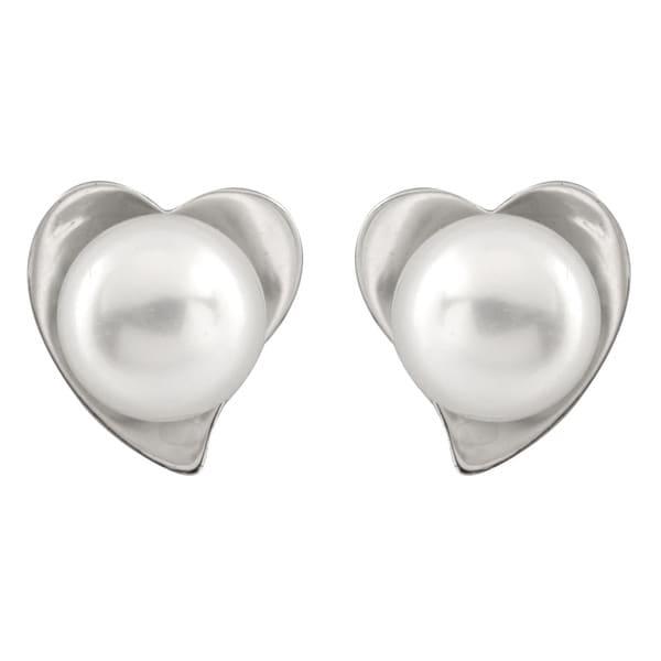 Sterling Silver Heart Shaped Pearl Stud Earrings