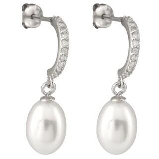 Freshwater Pearl Cubic Zirconia White Dangling Earrings