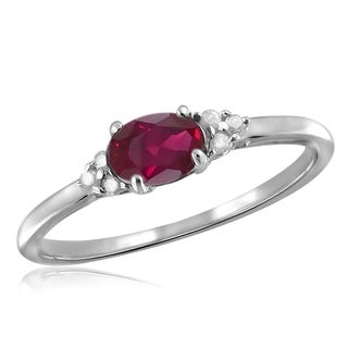 Jewelonfire Sterling Silver 1/2ct TW Ruby and White Diamond Accent Ring