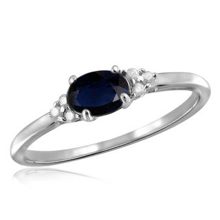 Jewelonfire Sterling Silver 3/4ct TW Sapphire and White Diamond Accent Ring