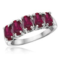 Jewelonfire Sterling Silver 2 2/5ct TW Ruby 5-stone Ring