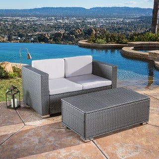 Florence 2-piece Outdoor Wicker Sofa and Coffee Table Set by Christopher Knight Home