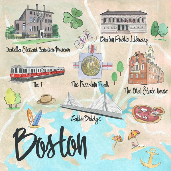 Marmont Hill - 'Boston Site Map' Painting Print on Wrapped Canvas
