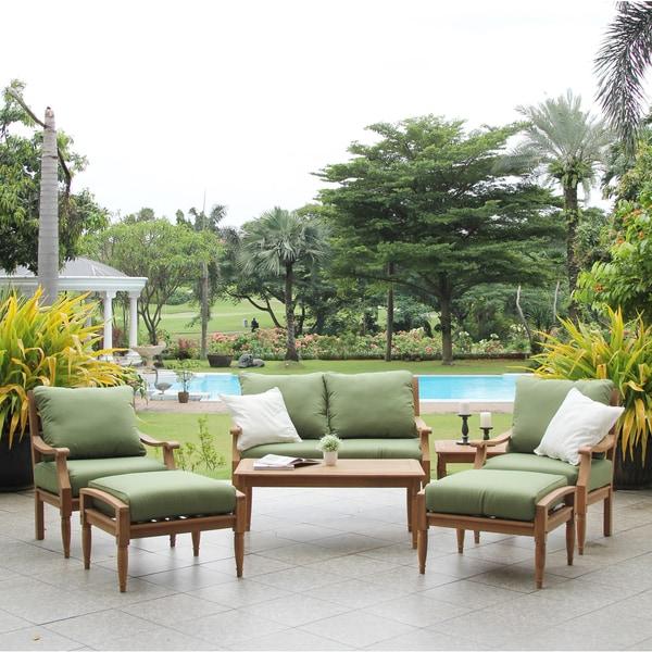 Shop Gracewood Hollow Bakker Teak 7-piece Deep Seat Outdoor Sofa Set ...