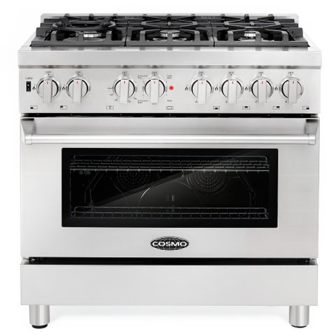 Commercial-Style 36 in. 4.5 cu. ft. Dual Fuel Range with 6 Italian Burners Cast Iron Grates and 4 Function Electric Oven