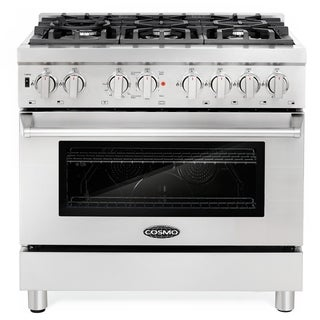 Cosmo Stainless Steel 36-inch Dual Fuel Range, 6 Italian Gas Burners, Electric Convection Oven