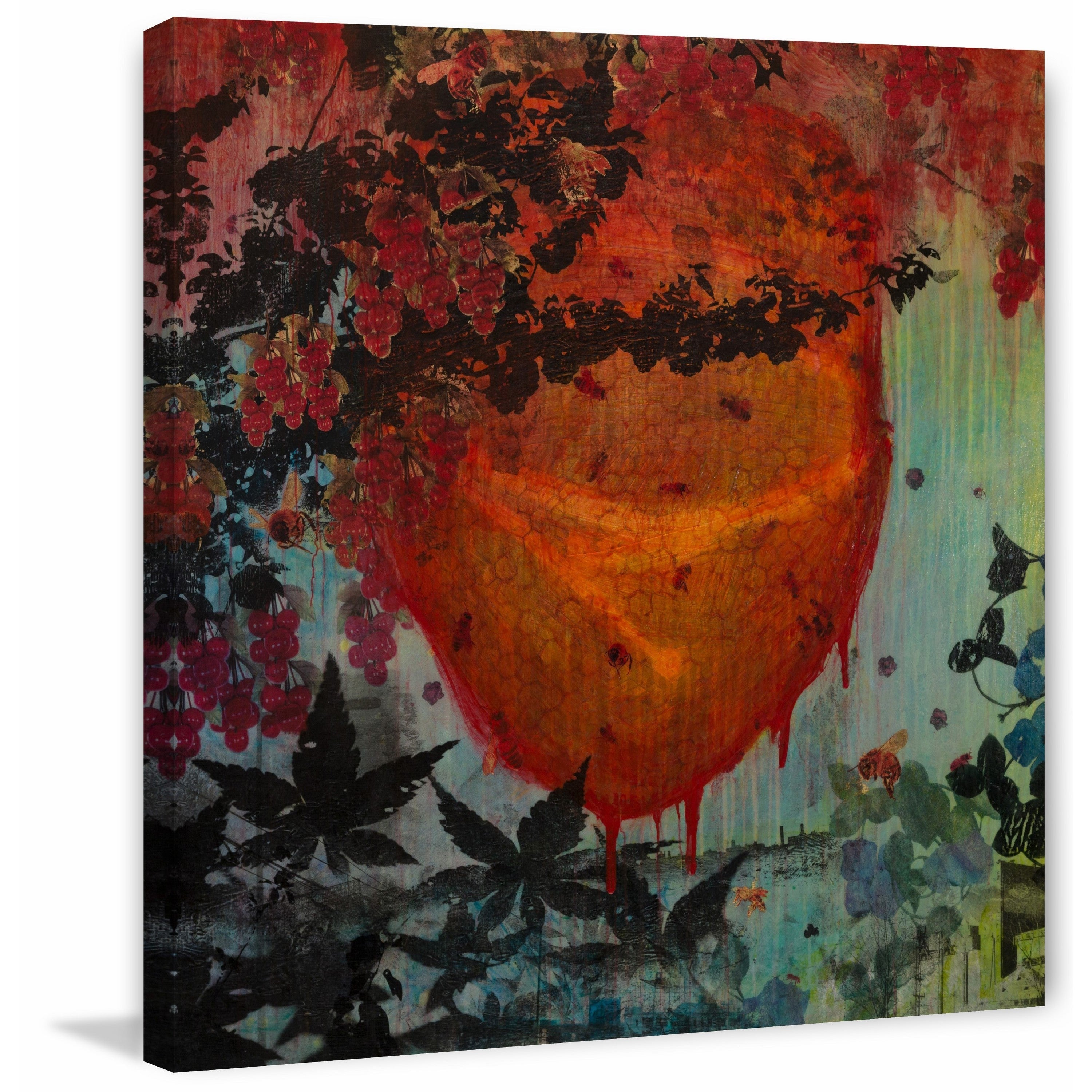 Marmont Hill Handmade Bee Hive In Motion Print On Wrapped Canvas Overstock 14444200