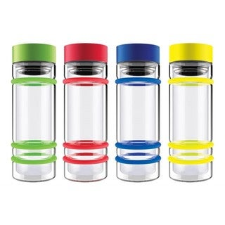 ASOBU Blue Glass 14-ounce Double-wall Water Bottle With Tea Infuser and Bumpers