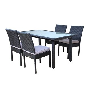 BroyerK Outdoor Dining Set Glass Table and Four Chairs Patio Furniture