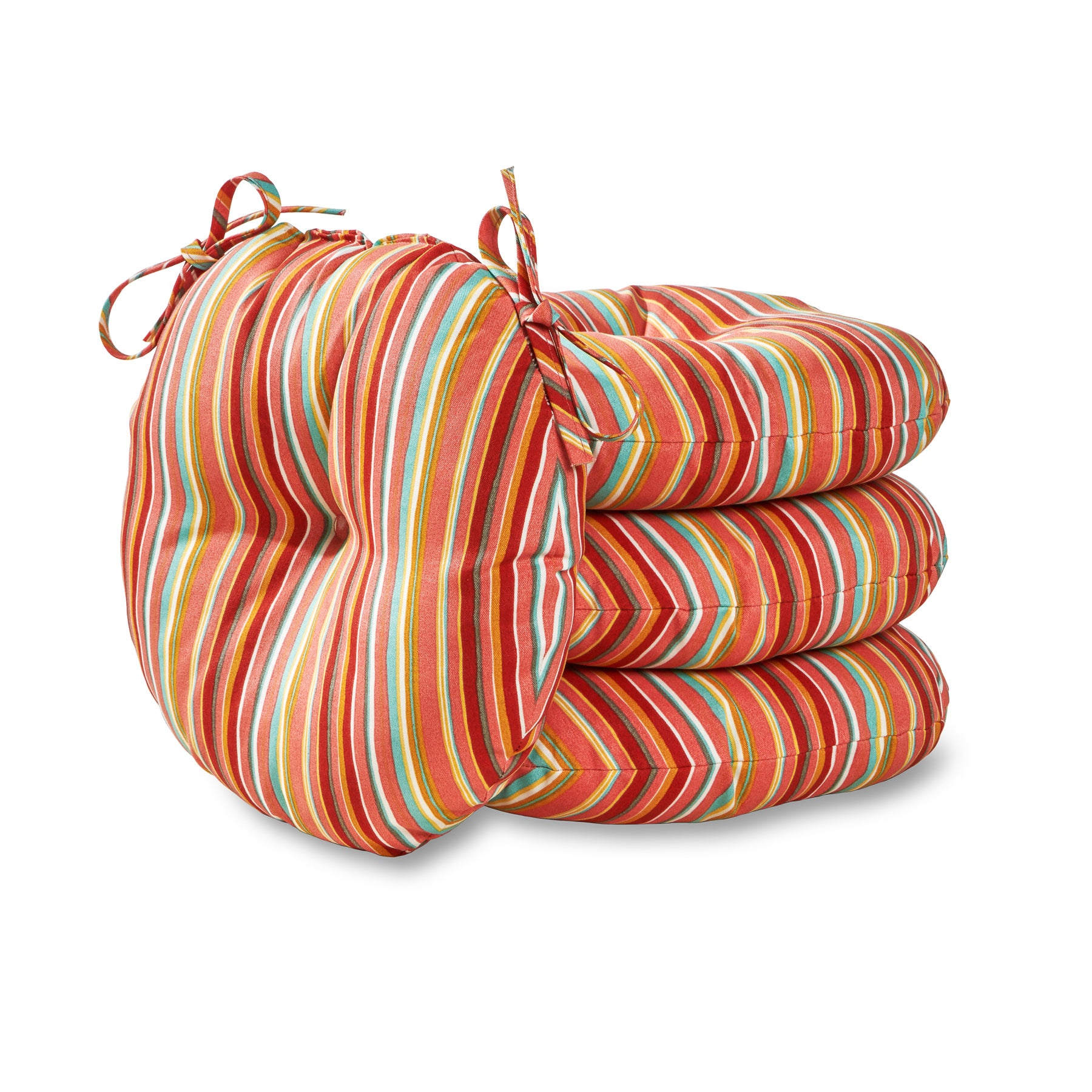 15 inch round outdoor bistro chair cushion in coastal stripe set