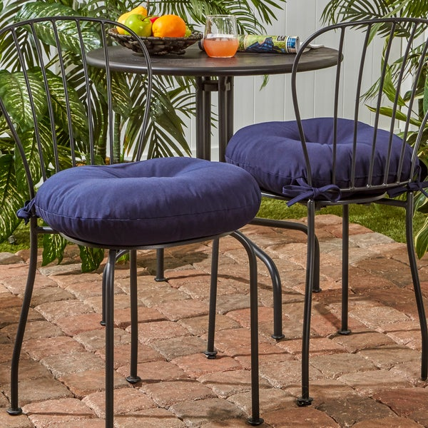 Lovely 18 Inch Round Outdoor Bistro Chair Cushion, Set Of 2