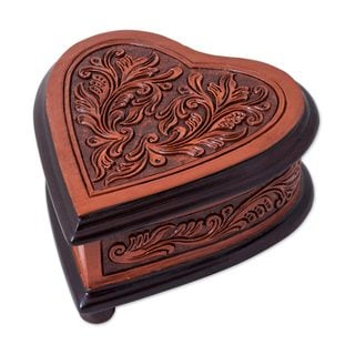 Leather and Cedar Wood Jewelry Box, 'Abundant Heart' (Peru)
